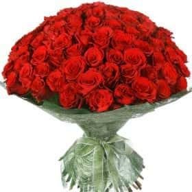 """Букет из 75 красных роз """"Аппер Класс"""""""