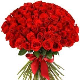 """Букет из 75 красных роз """"Фридом"""""""