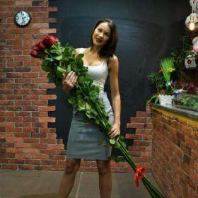5 гигантских красных роз 190см