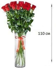 15 длинных роз 110 см