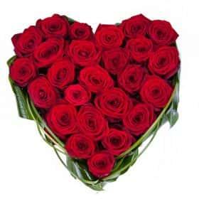 Композиция из 25 роз «Пламя любви»