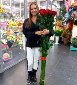 5 гигантских красных роз 160 см