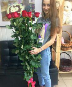9 гигантских Красных роз 150 см