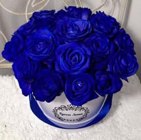 Коробка малая 19 синих роз