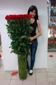 45 гигантских красных роз 150см