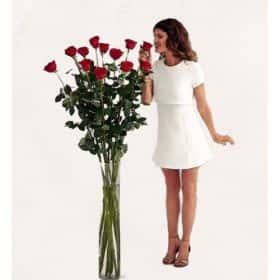 15 гигантских красных роз 180 см