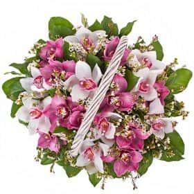 Корзина с розовыми орхидеями большая
