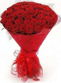 51 красная роза с оформлением