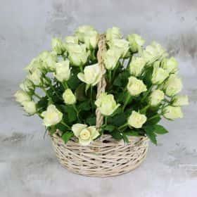 51 белая роза 40 см. в корзине Люкс