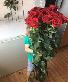 17 длинных роз 110 см