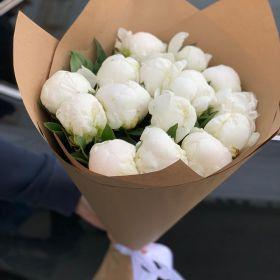 Букет свежих белоснежных пионов 11 шт